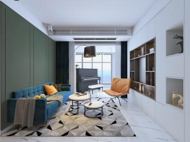 82平方2室不一样的现代风格色系