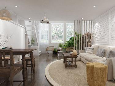 43平空中花园现代风格-民宿的乐趣-空中花园小区43平米公寓现代装修案例