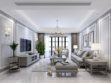 133平荷澜庭美式风格-荷澜庭小区133平米3室美式装修案例