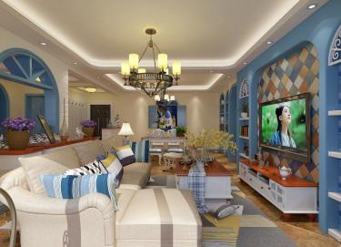 120平万佳天玺地中海风格-当家装爱上地中海的蓝天白云-万佳天玺小区120平米3室地中海装修案例