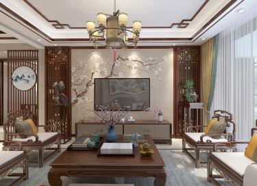 200平美的亚中式风格-主卧花鸟屏风背景墙,看完没有不夸的!