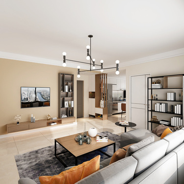 95平3室现代客厅