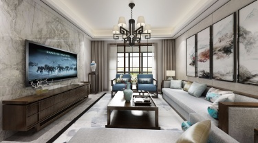 142平锦悦湾新中式风格-越简约 越贵气-锦悦湾小区142平米4室新中式装修案例