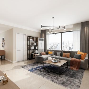 98平3室现代客厅