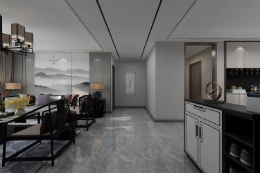 当新中式遇见黑白灰,低调素雅有内涵!-绿地·国际城小区133平米3室新中式装修案例