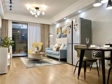 88平时代上城现代风格-原木与浅灰色协调之下的温馨小家-时代上城小区88平米2室现代装修案例