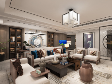 260平伟浩御景新中式风格-极简意味的四口之家