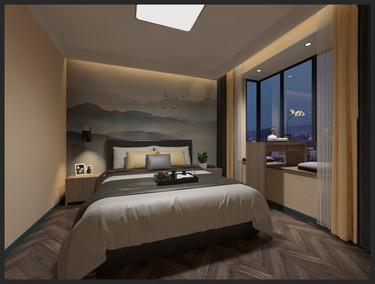 128平3室现代卧室