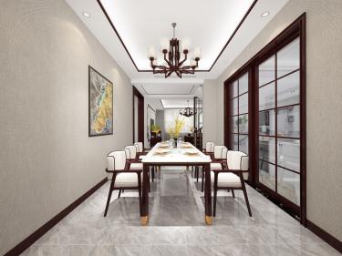 224平别墅新中式餐厅