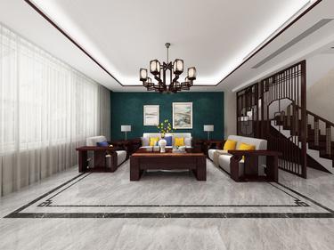 224平别墅新中式客厅