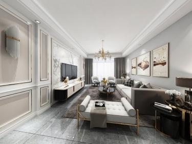 128平学墅一号简欧风格-现代与欧式的碰撞-学墅一号小区128平米3室简欧装修案例