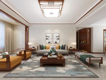 122平海通花语城中式风格-海通花语城小区122平米3室中式装修案例