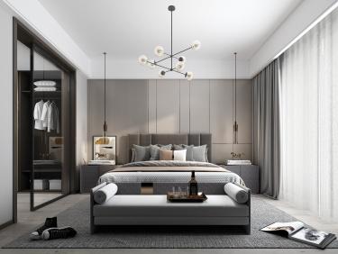 93平十里江南现代风格-黑白灰温润空间-十里江南小区93平米2室现代装修案例