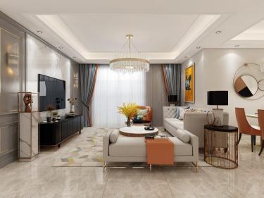 130平花好月圆法式风格-暖调简欧风-花好月圆小区132平米3室法式装修案例