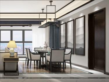 183平和雍景园新中式风格-安心于此-和雍景园小区183平米4室新中式装修案例