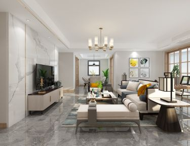 162平越湖名邸新中式风格-浅色调温润-越湖名邸小区162平米3室新中式装修案例
