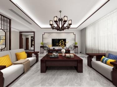 224平水城庄园新中式风格-水城庄园小区224平米别墅新中式装修案例