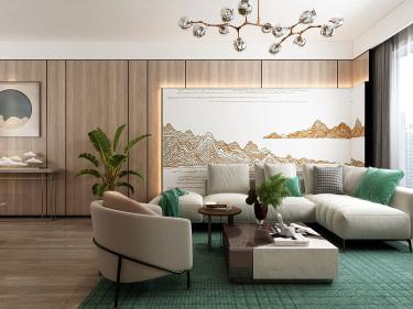 102平新天鹅堡现代风格-原木、简约、生机、山水、禅意-新天鹅堡小区102平米3室现代装修案例