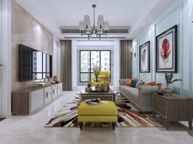 125平3室美式客厅