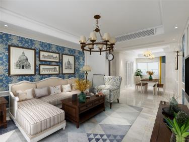 147平中海国际三区美式风格-中海国际三区小区147平米4室美式装修案例