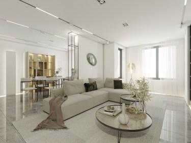 180平金地都会现代风格-原木与白,理性与感性的平衡