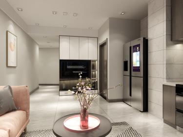 54平宝园财富广场现代风格-唯美单身公寓-宝圆财富广场小区54平米公寓现代装修案例