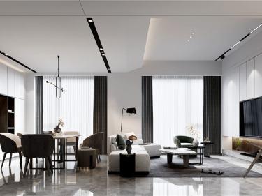 360平自建房现代风格-追光者-自建房小区360平米4室现代装修案例