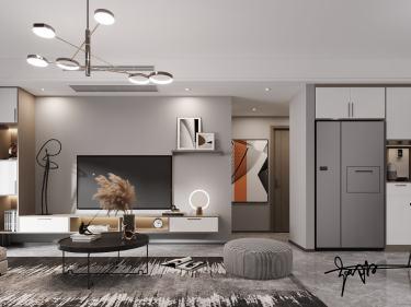 107平保利时代林语溪现代风格-保利时代林语溪小区107平米3室现代装修案例