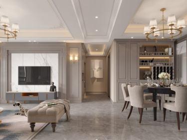 155平汀海壹品美式风格-恰到好处的精致-汀海壹品小区155平米4室美式装修案例