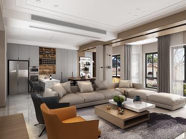 230平明珠城现代风格-与美好生活温暖相拥-明珠城小区230平米别墅现代装修案例