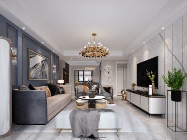 108平香溢世纪花城现代风格-香溢世纪花城小区108平米2室现代装修案例
