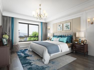 136平水木清华美式风格-静谧时光-水木清华小区136平米3室美式装修案例