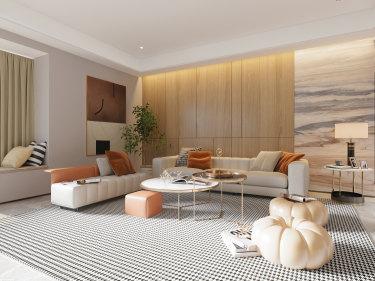 135平日华花园现代风格-珠海超级海景房-日华花园小区135平米3室现代装修案例