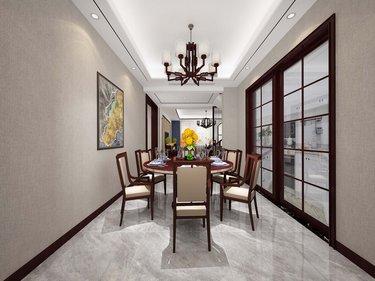 280平文景城中式风格-文景城小区280平米跃层/复式中式装修案例