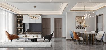 100平2室现代客厅