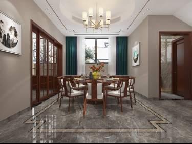 370平聚贤庭院新中式风格-聚贤庭院小区370平米别墅新中式装修案例