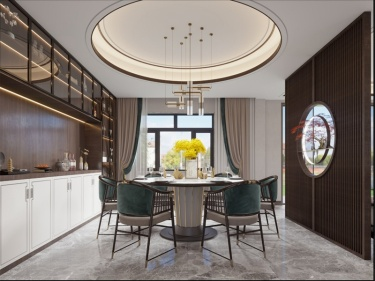 230平石帆村新中式风格-自然的木纹,写意的水墨-石帆村小区230平米4室新中式装修案例
