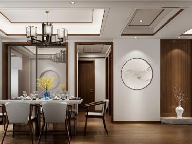 142平中天和景苑新中式风格-闲居雅趣-中天和景苑小区142平米3室新中式装修案例