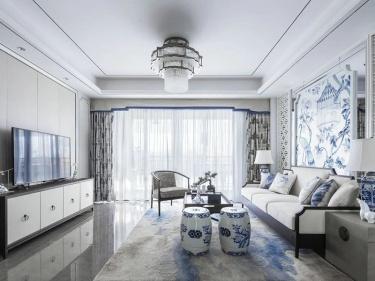 170平阅园新中式风格-传统青花瓷与中现代文化的交融