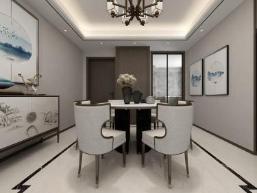 129平红星天铂新中式风格-4口之家,最大空间利用-红星天铂小区129平米4室新中式装修案例
