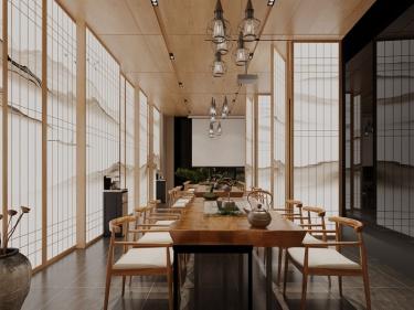 212平龙湖天街日式风格-山水入户,坐落于闹市的禅意茶室-龙湖天街小区212平米5室日式装修案例