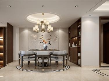 450平沁水朗庭新中式风格-沁水朗庭小区450平米别墅新中式装修案例