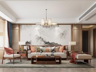 188平融创御湖宸院新中式风格-融创御湖宸院小区188平米4室新中式装修案例