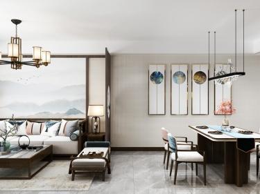 137平水木清华新中式风格-家的温度-水木清华小区137平米新中式装修案例