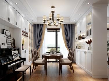 120平河滨雅苑美式风格-米咖色的美式