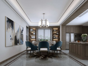 560平水秀苑新中式风格-水墨长卷-水秀苑小区560平米新中式装修案例