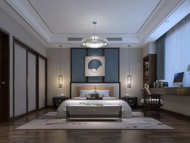 500平滨河名墅新中式风格-滨河名墅小区500平米新中式装修案例
